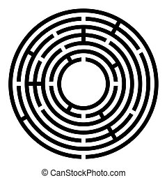 radial, pretas, pequeno, labirinto, labirinto, circular