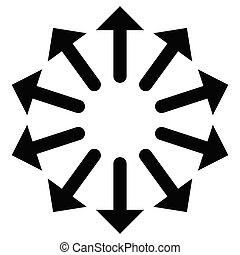 Radial, radiating arrows for expand, extend, explosion ...