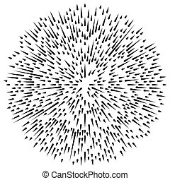 Radial, radiating irregular, asymmetric lines. Explosion...