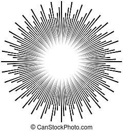 Radial ray, beam lines. Circular radiation stripes pattern. Gleam, sparkle effect. Glaze, flare, aurora design. Sunburst, starburst concentric lines as twinkle, radiance, glitter illustration. Shimmer, brilliance, glisten effect