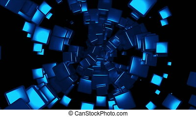 Radial rotation of many cubes, computer generated. 3d rendering technological background