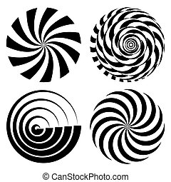 Radial Spiral Rays Set. Vector Psychedelic Illustration. Twisted Rotation Effect. Swirling Monochrome Shapes. Black And White Vortex Background. Black And White Hypnosis. Optical Art Illustration