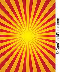 Radial Sun Burst (Star Burst) - Bright yellow and red radial...