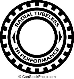 radial tubeless hi performance tyre symbol vector