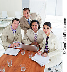 Radiant business team having a brainstorming