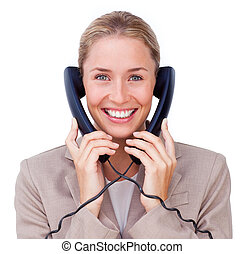 Radiant businesswoman tangled up in phone wires