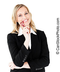 Radiant businesswoman with glasses smiling at the camera...