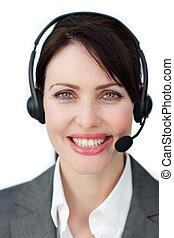 Radiant customer service agent using headset