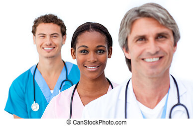 Radiant doctors standing in a row