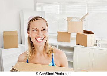 radiant, femme, boîtes, tenue