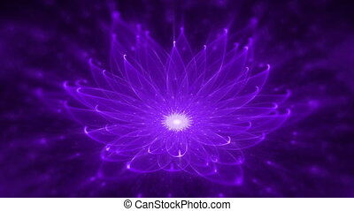 enlightenment or meditation and universe, magic scene, purple and violet lotus, water lily, starry lights, fairy dust and universe, tranquil scene, serene motion on black background, animated abstract illustration, 30fps, HD1080, seamless loop