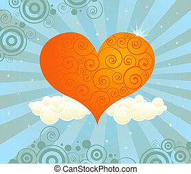 Radiant Love - Bright orange heart in a radiant sky of...
