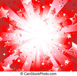 Radiant Red Background with Stars