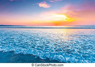 Radiant sea beach sunset - Radiant colorful sea beach sunset...