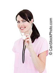 radiant, stéthoscope, projection, docteur féminin