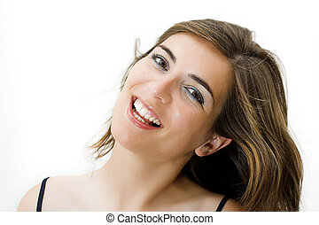 Beautiful woman with a great smile isolated in a white background