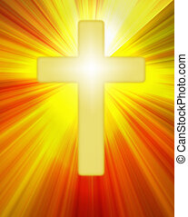 Radiant yellow cross symbol on bright rays