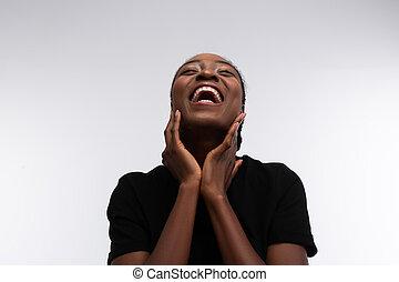 radiante, lindo, reír, mujer, afuera, african - american, ...