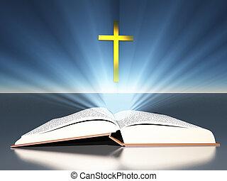 radiates, bible, croix, sous, lumière