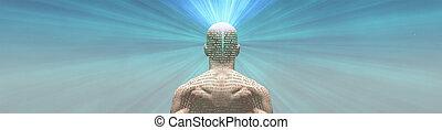 radiates, el suyo, luz, texto, piel, hombre