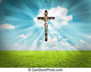 radiates, jézus, ligh, krisztus, kereszt