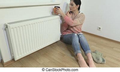 radiateur, thé, boire, femme, chaud