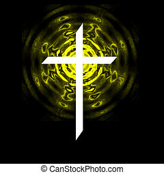 Radiating Cross - White cross on black background with...