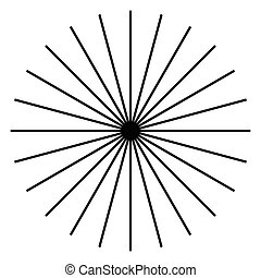 Radiating, radial lines. Starburst, sunburst shape. Ray,...