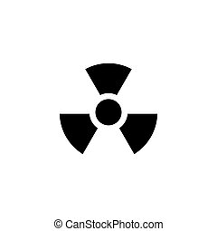 Radiation Alert, Reactor Radioactivity. Flat Vector Icon illustration. Simple black symbol on white background. Radiation Alert, Nuclear Radioactive sign design template for web and mobile UI element