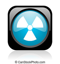 radiation black and blue square web glossy icon