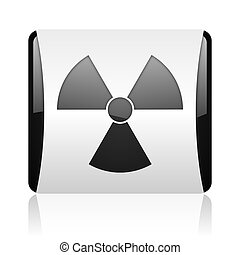 radiation black and white square web glossy icon
