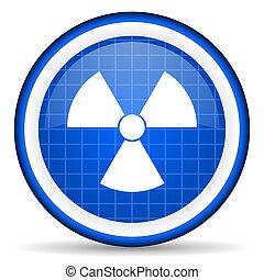 radiation blue glossy icon on white background