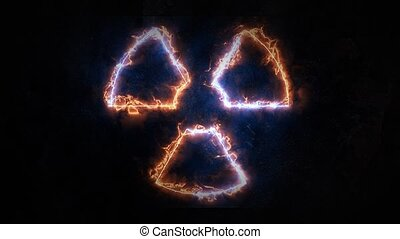 Radiation Burns. The sign of radiation glows with fire. 20 -...