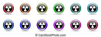 radiation colorful round web icon set