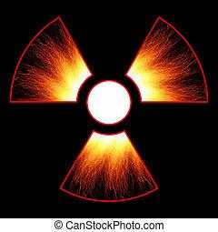 radiation danger sign and sparks on a black background