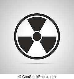 Radiation danger simple black icon with shadow