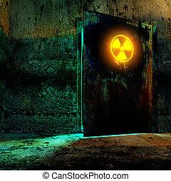 radiation danger zone - Danger room in old underground...