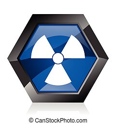 Radiation dark blue glossy hexagon geometric diamond vector web icon with reflection on white background. Modern design hexagonal internet button.