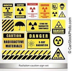 radiation, ensemble, signe prudence