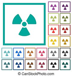 Radiation flat color icons with quadrant frames on white...