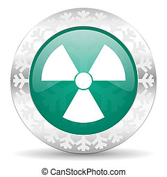 radiation green icon, christmas button, atom sign