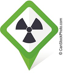 Radiation green square pointer vector icon in eps 10 on white background with shadow.