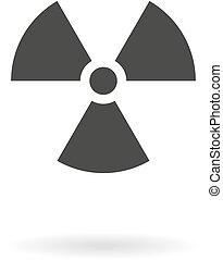 radiation, gris, danger, fond foncé, blanc, ombre, icône