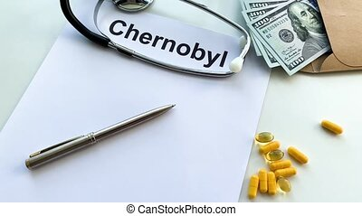 Radiation hazard. Documents of Chernobyl on a black table.