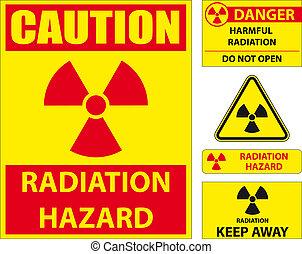 Set of radiation hazard signs