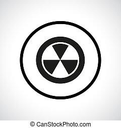 Radiation hazard symbol in a circle.