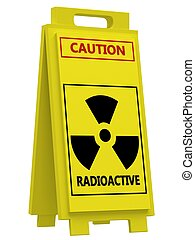 Radiation hazard symbol sign on a white background