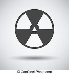 Radiation Icon. Dark Gray on Gray Background With Round Shadow. Vector Illustration.