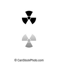 Radiation. Black symbol on white background. Simple illustration. Flat Vector Icon. Mirror Reflection Shadow. Can be used in logo, web, mobile and UI UX project