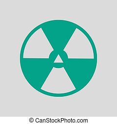 Radiation Icon. Green on Gray Background. Vector Illustration.